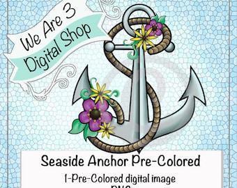 We Are 3 Digital Shop, Seaside Anchor, Pre-Colored, Digital Stamp