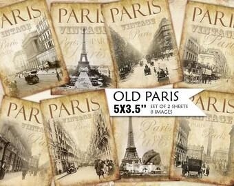 Old Paris Vintage Backgrounds Shabby chic paper Scrapbook Decoupage 5x3.5 inch (439) set of 2 sheets