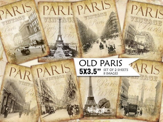 Old Paris Vintage Backgrounds Shabby Chic Paper Scrapbook