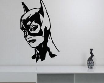 Batgirl Head Wall Sticker Vinyl Decal Marvel Comics Superhero Art Decorations for Home Housewares Bedroom Teen Kids Girls Room Decor btg3