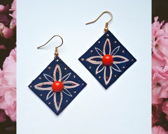 Rhombus earrings, geometric dangle earrings, geometric earrings, dangle earrings, handmade earrings, statement earrings, gift