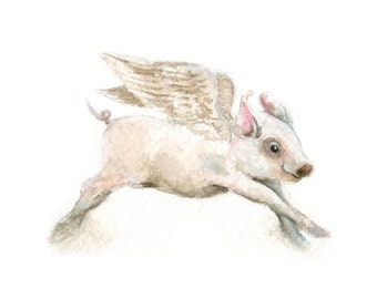 Watercolor Flying Pig, Flying Pig Print, Winged Pig Print