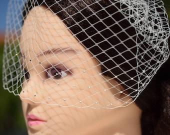 Wedding Veil, Birdcage Veil with rhinestones, Bridal Veil, Wedding Headpiece, Blusher Veil, Wedding Hair Piece, Ivory Veil
