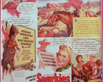 1942 Gene Autry in Quaker Sparkies Ad Matted Vintage Print