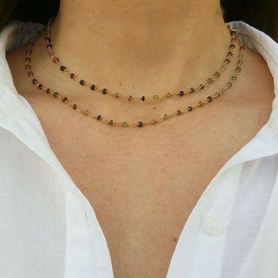 Tourmaline necklace, 14k gold filled necklace, beaded necklace, gemstones, boho chic necklace, layered necklace
