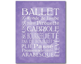 Dance Wall Art - Ballet Terms - Typography PRINT - Teen Tween Girl's Room Decor - Word Art Ballet Shoe Silhouette - Pointe Shoe Silhouette