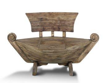 Unique masterpiece Teak Boat shaped Bench (145cm) with storage compartment