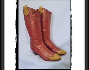 Glame Rock Bowie boots 60s 70s iridescent leather 7 37