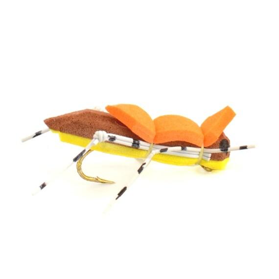 Hand Tied Trout Flies: Morrish Hopper Foam Body Grasshopper Dry Fly - Yellow/Brown Body - Hook Size 10