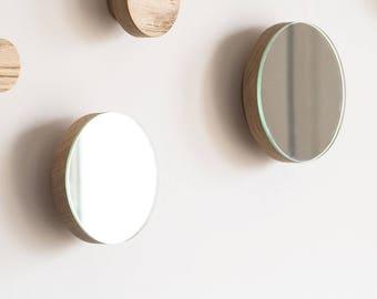 Mirror hook - wall mirror - round mirror - wood wall hook - rustic mirror - round hook - coat hook - wall hook - oak hook - large wood knob