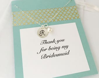 Bridesmaid Necklace, Bridesmaid Gift, Thank you for being my bridesmaid, Wedding Party Gifts, Bridesmaid Jewelry