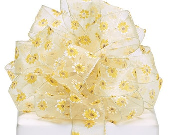 "4yds Ribbon, SHEER YELLOW DAISY  ribbon with sewn wired edge. 1-1/2""wide   Weddings,  Mothers day, Holiday Ribbon  Gift Wrap"