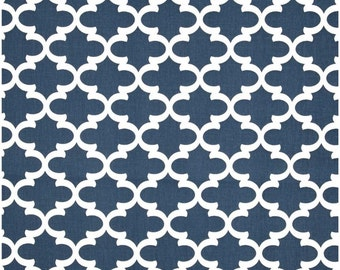 1 Yard Navy and White Quatrefoil Fabric - Premier Prints Navy Blue and White Fulton Fabric ONE YARD dark blue navy blue