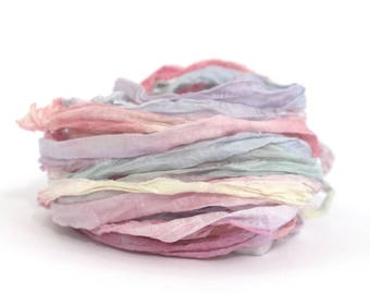 Recycled chiffon silk ribbon handdyed Unicorn Clouds, pastel rainbow pink lemon yellow lilac blue,  10metres, textile arts, bouquet wrap