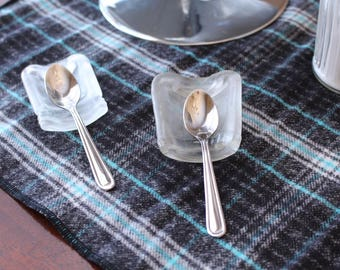 2 Miniature Glass Spoon Rests Coffee Tea Espresso Kitchen Small Gift Recycled Upcycled Tabletop Countertop Small Gift