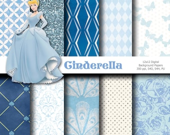 Cinderella 12x12 Digital Paper Backgrounds for Digital Scrapbooking, Party Supplies, etc -INSTANT DOWNLOAD