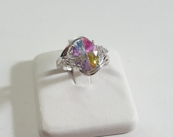Multi Colored Cubic Zirconia .925 Sterling Silver Ring