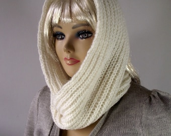 KNITTING PATTERN HOOD Scarf - I love Snow - Brioche Hooded Infinity Scarf brioche scarf knit hoodie scarf pattern pdf instant download