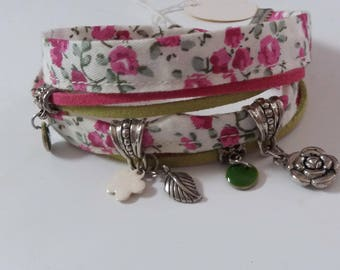 LIBERTY bracelet double rounds, white with pink flowers