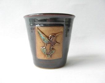 Outdoor Planter with Hummingbird, Hummingbird Herb Pot, Ceramic Outdoor Planter, Herb Planter, Fence Planter