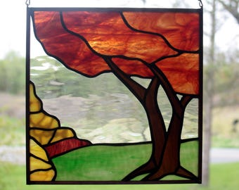 Stained Glass Fall Tree, Autumn Tree, Landscape, Stained Glass Panel, Fall Colors, Stained Glass Window, Glass Art