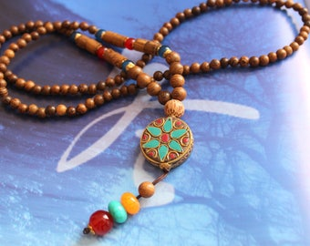 Tibetan mala with beautiful Medallion NECKLACE central green star