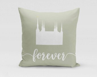D.C. Temple Pillow Cover - Forever - Customized Twill Pillowcase - COVER only - LDS Temple