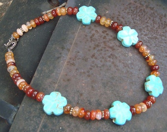 Southwestern  Carnelian and Turquoise Flowers  Southwestern Necklace    Cowgirl Necklace   Cowgirl Boho