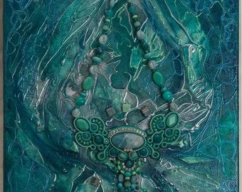 """Painting + Soutache necklace """"Bali"""""""