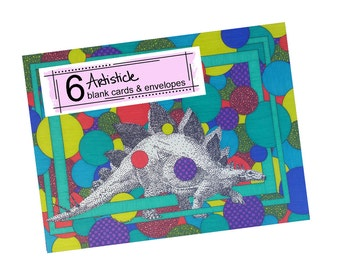 Stegosaurus Cards - Dinosaur Notes - Dino Stationery - Blank Greeting Cards - Colorful Green Cards - Boys Notecards - Wild Animal Cards