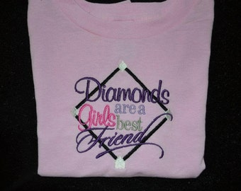Diamonds are a girls best friend girl embroidered t-shirt