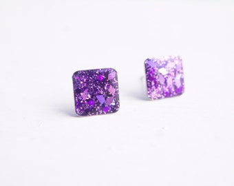 Purple Glitter Square Stud Earrings