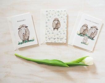 3 notecards   Sheep hand painted, watercolor, postcard, handmade, paper, greeting card, individual, greeting card, birthday