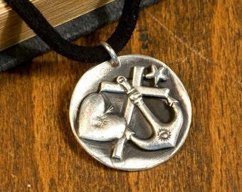 Love, faith, hope, dreams, pendant made of 999 silver