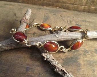 Vintage Gold Tone Sara Coventry Cabochon Bracelet