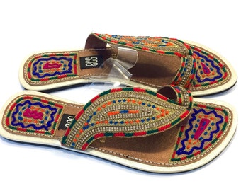 Gold Colorful Ethnic Between Toe Sandals - Size 6.5