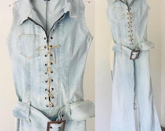 Vintage 80's Denim Jumpsuit Flare by  Toba & Co Jeans France M