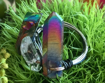 Rainbow Titanium Crystal  Pinkie Ring