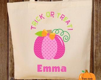 Trick or Treat Bag Halloween Tote Bag Pink  Pumpkin Halloween Trick or Treat Bag