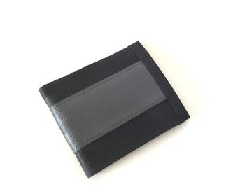 Vegan Billfold Wallet - Black and Grey (SBW-V3)