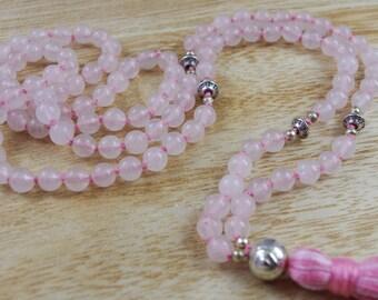 Rose Quartz Knotted Mala Beads // 6mm // Tassel Mala Necklace // Hand Knotted 108 Bead Mala // Prayer Beads // Yoga Jewelry Gift