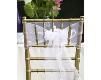 25x White Organza Chair Sashes Bow Cover for Wedding Engagement Event Birthday Anniversary Party Reception Ceremony Bouquet Decoration