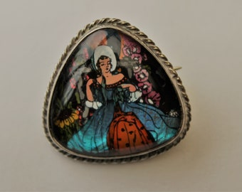 1920's/1930's Butterfly wing and Hand Painted Crinoline Lady Brooch