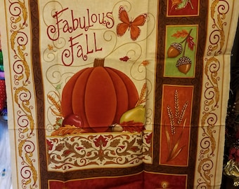 Fabulous Fall Panel by Deb Strain Leaves, Candles Fabric 1 Panel