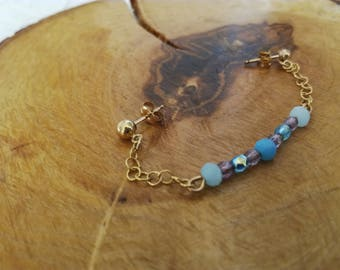 Turquoise, Turquoise and gold, Double earrings, Double lobe piercing, Two hole earrings, Ear climbers, Ear jewelry, Double ear piercing