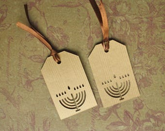 "Set of 6 tags ""Happy Hanukkah"" - celebrate Chanukah Lights Kraft liason wiht"