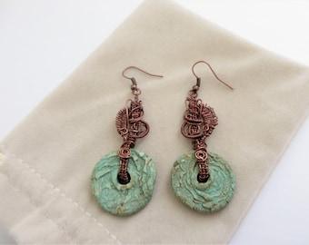 Copper Wire Woven Earrings, Clay Bead Earrings, Rustic Earrings, Wire Wrapped Earrings, Bohemian Copper Earrings, Boho Jewelry,