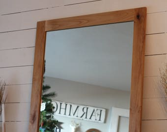 Large Wood Mirror, Wood Mirror, Wall Mirror, Bathroom Mirror, Farmhouse Decor, Farmhouse Mirror, Mirror, Farmhouse Style, Knotty Alder