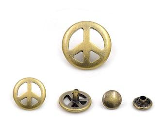 10 Sets Antique Brass Peace Rivet Stud Leather Craft Supplies Diy Crafts Fashion Decor Decorative Accessories 15 mm. Pec 15 RV 254