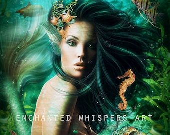 fantasy mermaid protrait art print by Enchanted Whispers